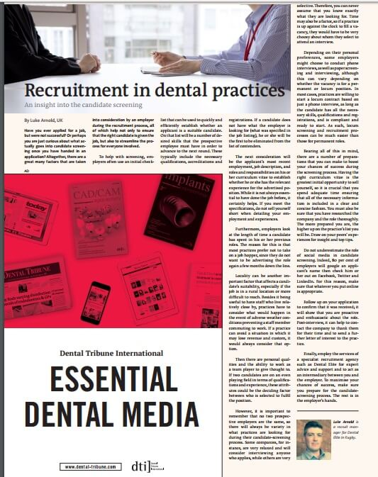 recruitment in dental practices